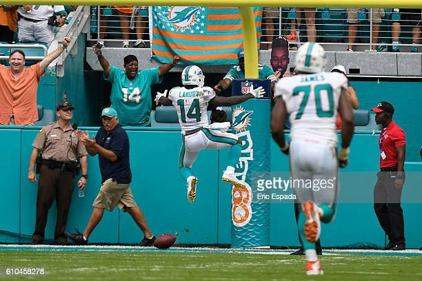 Jarvis Landry of the Miami Dolphins celebrates after scoring a touchdown in the 3rd quarter against the Cleveland Browns on September 25 2016 in...
