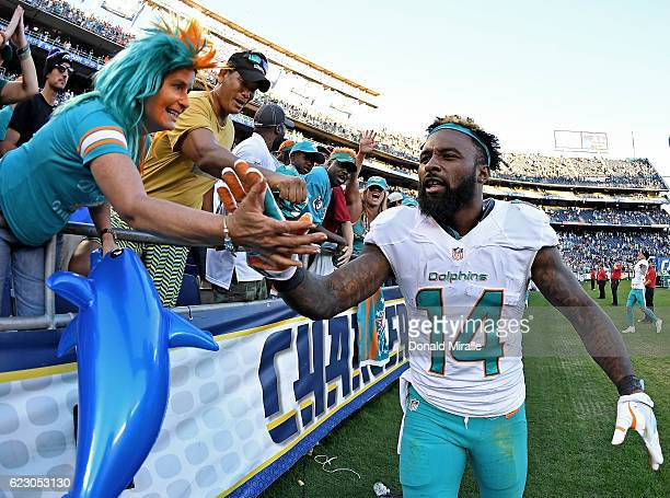 Jarvis Landry of the Miami Dolphins celebrates his team's 3124 win over the San Diego Chargers during their NFL Game at Qualcomm Stadium on November...