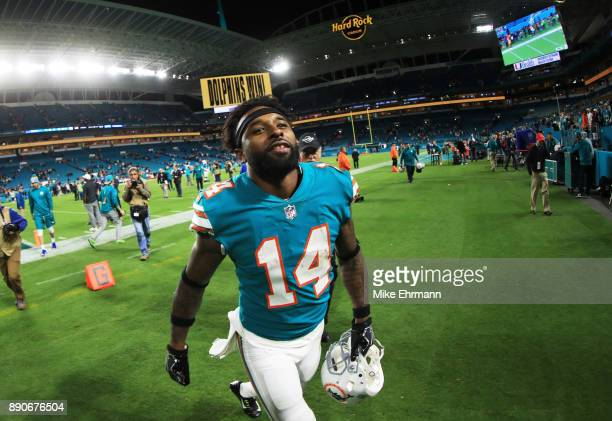 Jarvis Landry of the Miami Dolphins celebrates their 27 to 20 win over the New England Patriots at Hard Rock Stadium on December 11 2017 in Miami...