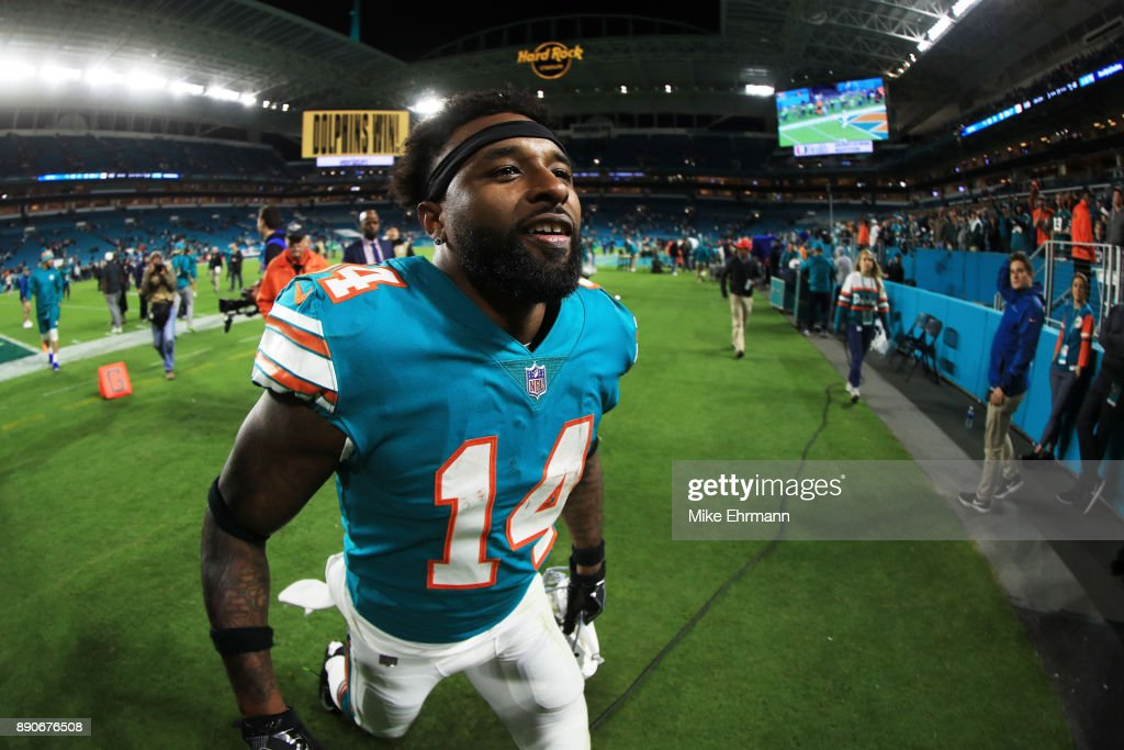 Jarvis Landry #14 of the Miami Dolphins celebrates their 27 to 20 win over the New England Patriots at Hard Rock Stadium on December 11, 2017 in Miami Gardens, Florida.