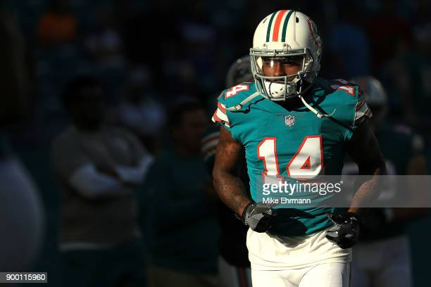 Jarvis Landry of the Miami Dolphins during pregame against the Buffalo Bills at Hard Rock Stadium on December 31 2017 in Miami Gardens Florida