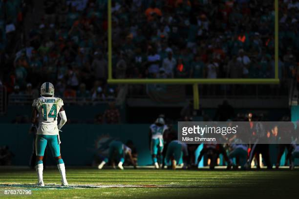 Jarvis Landry of the Miami Dolphins during the fourth quarter against the Tampa Bay Buccaneers at Hard Rock Stadium on November 19 2017 in Miami...