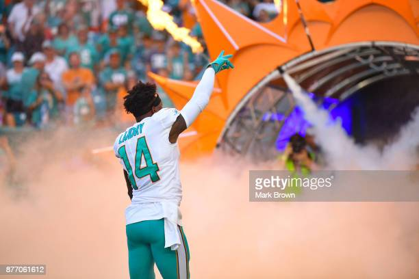Jarvis Landry of the Miami Dolphins is introduced before the game against the Tampa Bay Buccaneers at Hard Rock Stadium on November 19 2017 in Miami...