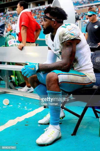 Jarvis Landry of the Miami Dolphins looks on in the fourth quarter against the Tennessee Titans on October 8 2017 at Hard Rock Stadium in Miami...