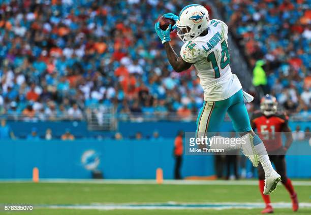 Jarvis Landry of the Miami Dolphins makes the catch during the third quarter against the Tampa Bay Buccaneers at Hard Rock Stadium on November 19...