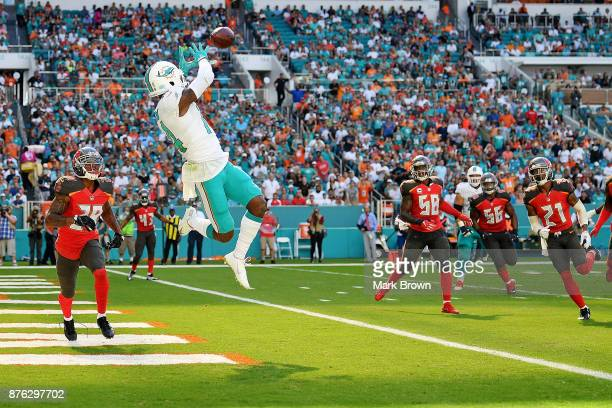 Jarvis Landry of the Miami Dolphins makes the catch for a touchdown in the first quarter during a game against the Tampa Bay Buccaneers at Hard Rock...