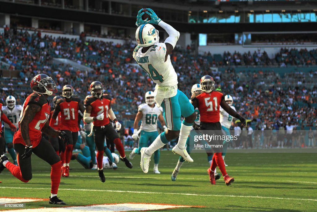 Jarvis Landry #14 of the Miami Dolphins makes the catch for a touchdown during the first quarter against the Tampa Bay Buccaneers at Hard Rock Stadium on November 19, 2017 in Miami Gardens, Florida.