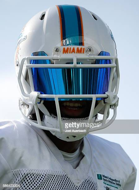 Jarvis Landry of the Miami Dolphins prepares to run a drill during the teams training camp on August 4 2016 at the Miami Dolphins training facility...
