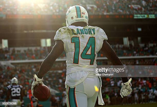 Jarvis Landry of the Miami Dolphins reacts to a catch during a game against the Indianapolis Colts at Sun Life Stadium on December 27 2015 in Miami...