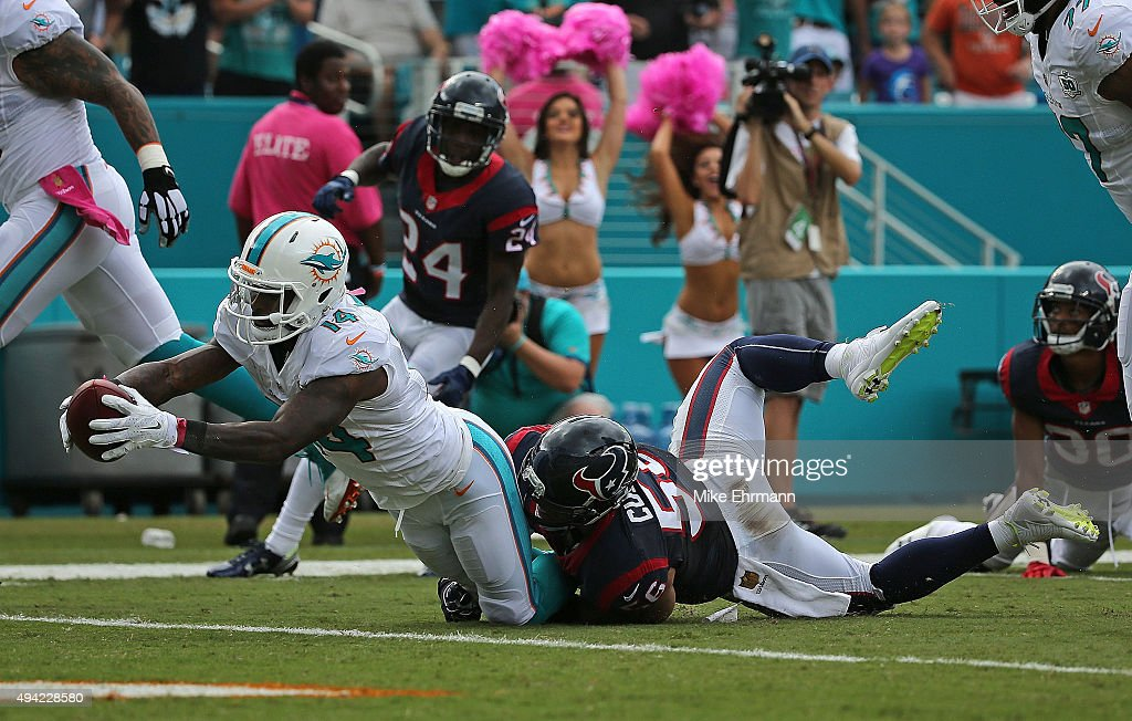 Jarvis Landry #14 of the Miami Dolphins rushes for a touchdown during a game against the Houston Texans at Sun Life Stadium on October 25, 2015 in Miami Gardens, Florida.