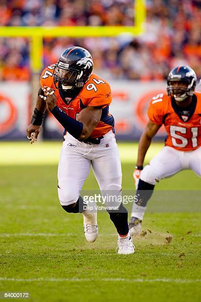 Jarvis Moss of the Denver Broncos defends against the Kansas City Chiefs at Invesco Field at Mile High on December 7, 2008 in Denver, Colorado. The...