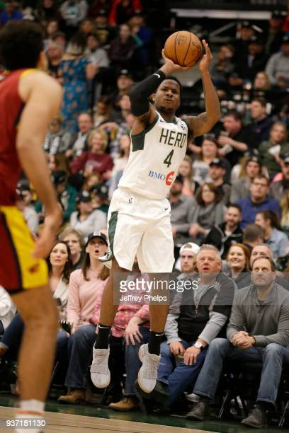 Jarvis Summers of the Wisconsin Herd shoots the ball against the Canton Charge during the NBA GLeague game on March 23 2018 at the Menominee Nation...