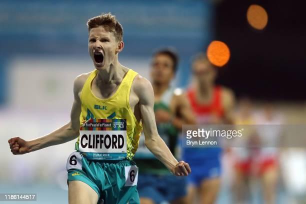 Jaryd Clifford of Australia celebrates winning the Men's 1500m T 13 final on Day One of the IPC World Para Athletics Championships 2019 Dubai on...