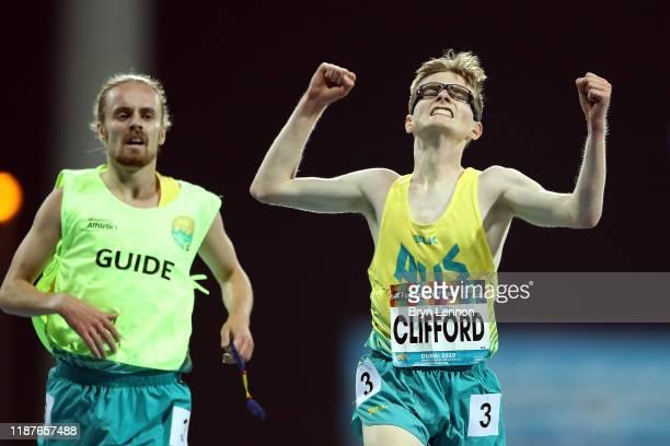 Jaryd Clifford of Australia celebrates winning the Men's 5000m T13 final during Day Eight of the IPC World Para Athletics Championships 2019 Dubai on...