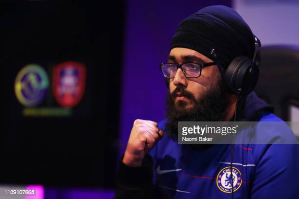 Jas 'Jas1875' Singh of Chelsea celebrates during day 2 of the ePremier League Finals 2019 at Gfinity Arena on March 29 2019 in London England
