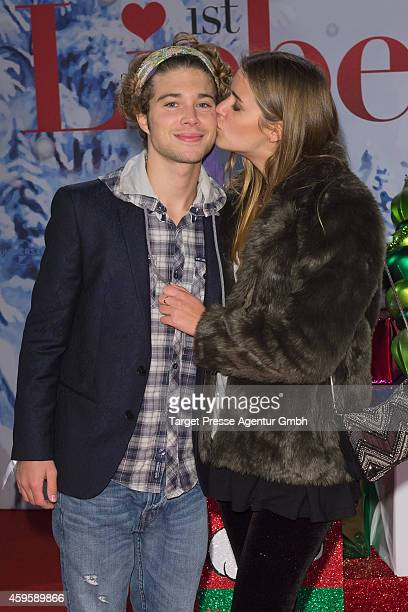 Jascha Rust and his girlfriend Helene attend the 'Alles ist Liebe' premiere at CineStar on November 25, 2014 in Berlin, Germany.