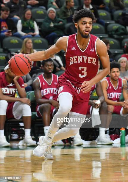 Jase Townsend of the Denver Pioneers dribbles against the North Dakota State Bison during their game at Scheels Center on February 09, 2019 in Fargo,...
