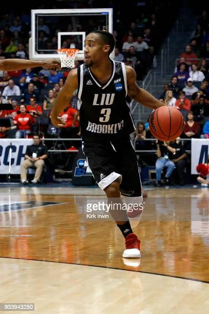 Jashaun Agosto of the LIU Brooklyn Blackbirds dribbles the ball during the game against the Radford Highlanders at UD Arena on March 13 2018 in...