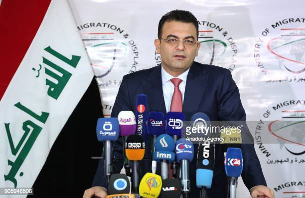 Jasim Aljaf Iraq's Minister of Migration and Displacement speaks during a press conference at Ministry building in Baghdad Iraq on January 17 2018