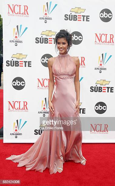 Jaslene Gonzales the winner of the reality show America's Next Top Model 2007 walks the red carpet at the 2007 ALMA Awards in Pasadena California