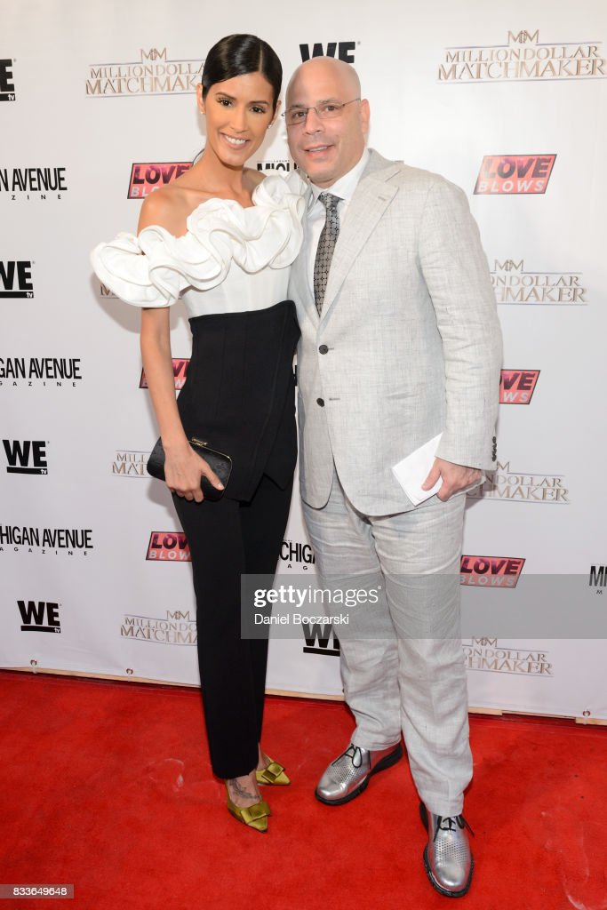 Jaslene Gonzalez and President and Publisher of Michigan Avenue Magazine Dan Uslan attend WE tv's LOVE BLOWS Premiere Event at Flamingo Rum Club on August 16, 2017 in Chicago, Illinois.