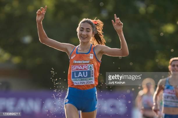 Jasmijn Lau of Netherlands celebrate during Women's 10,000m Final during 2021 European Athletics U23 Championships - Day 2 at at Kadriorg Stadium on...