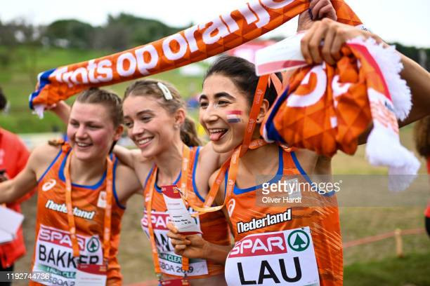 Jasmijn Lau of the Netherlands reacts after her finished the U23 Women race of the SPAR European Cross Country Championships at the Parque da Bela...