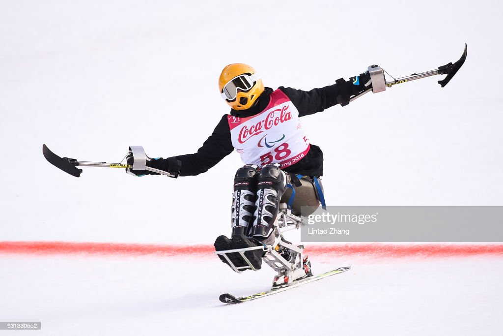 Jasmin Bambur of United States reacts after crossing the finish line during the Alpine Skiing - Men's Super-G, Sitting at the Jeongseon Alpine Centre during day four of the PyeongChang 2018 Paralympic Games on March 13, 2018 in Pyeongchang-gun, South Korea.