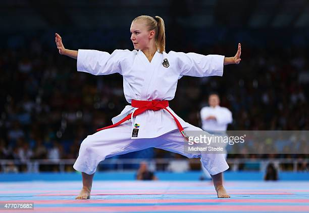 Jasmin Bleul of Germany competes in the Women's Karate Kata elimination round during day two of the Baku 2015 European Games at Crystal Hall on June...