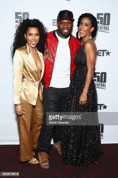 Jasmin Brown Curtis '50 Cent' Jackson and Kiya Roberts attend BET's 50 Central Premiere Party on September 25 2017 in New York City