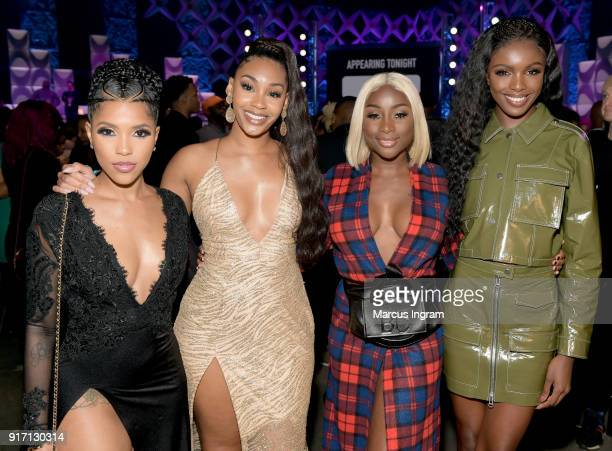Jasmin Brown Jasmine Luv Sandra Lambeck and Leomie Anderson attend BET's Social Awards 2018 at Tyler Perry Studio on February 11 2018 in Atlanta...