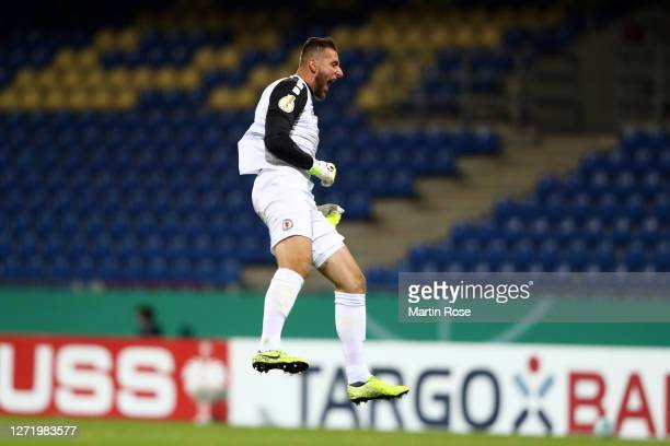 Jasmin Fejzic of Eintracht Braunschweig celebrates after Maximilian Mittelstaedt of Hertha Berlin scored an own goal which resulted in the second...