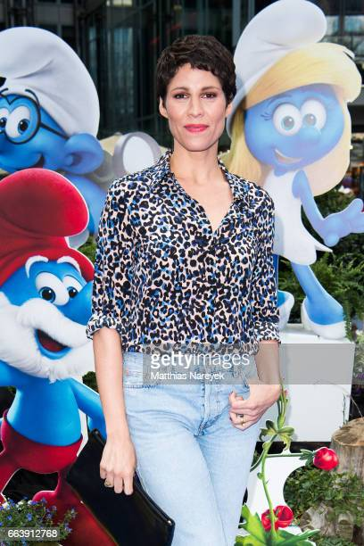 Jasmin Gerat attends the 'Die Schluempfe Das verlorene Dorf' Berlin Premiere at Sony Centre on April 2 2017 in Berlin Germany