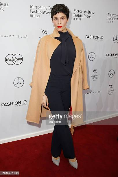 Jasmin Gerat attends the Marc Cain show during the MercedesBenz Fashion Week Berlin Autumn/Winter 2016 at Brandenburg Gate on January 19 2016 in...