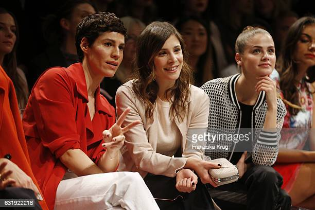 Jasmin Gerat Aylin Tezel and Jennifer Ulrich attend the Marc Cain fashion show A/W 2017 at Deutsche Telekom representation on January 17 2017 in...
