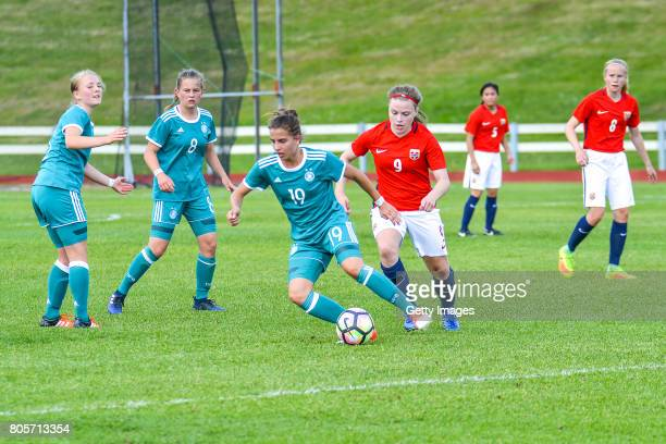 Jasmin Jabbes Germany challenges Anna Ostrem of Norway during the Nordic Cup 2017 match between U16 Girl's Germany and U16 Girl's Norway on July 2...