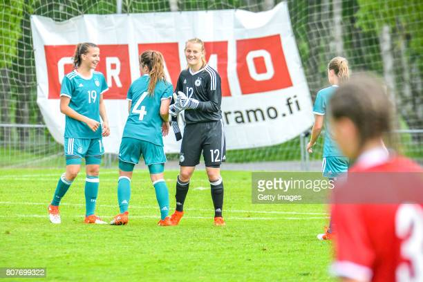 Jasmin Jabbes Noreen Gunnewig and Franiska trenz of Germany celebrating the won game during the Nordic Cup 2017 match between U16 Girl's Germany and...