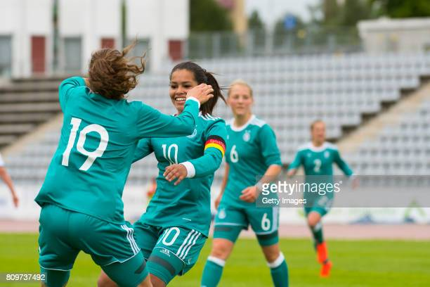 Jasmin Jabbes of Germany celebrates their second goal with Ivana Fuso during the Nordic Cup 2017 match between U16 Girl's Germany and U16 Girl's...