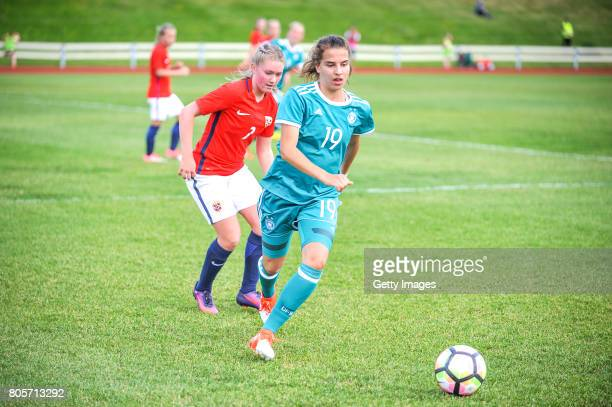 Jasmin Jabbes of Germany challenges Madeleine Hille Mellemstrand of Norway during the Nordic Cup 2017 match between U16 Girl's Germany and U16 Girl's...
