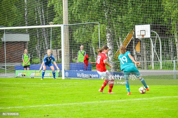 Jasmin Jabbes of Germany challenges Mathilde Carstens of Denmark during the Nordic Cup 2017 match between U16 Girl's Germany and U16 Girl's Norway on...