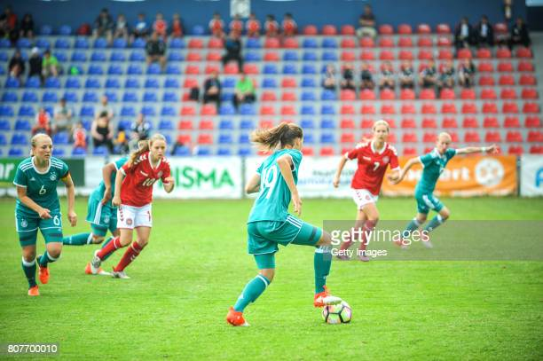 Jasmin Jabbes of Germany handling the ball during the Nordic Cup 2017 match between U16 Girl's Germany and U16 Girl's Norway on July 4 2017 in Kemi...