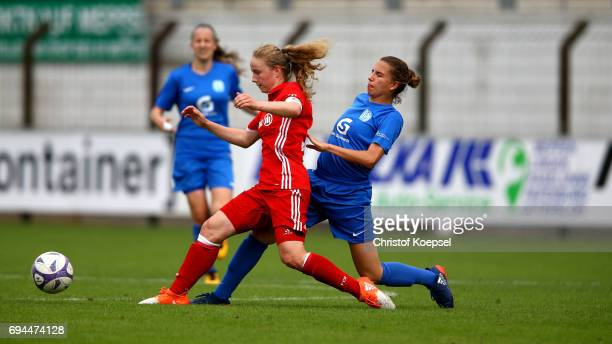 Jasmin Jabbes of Meppen challenges Andrea Brunner of Bayern during the B Junior Girl's German Championship Semi Final match between SV Meppen and...