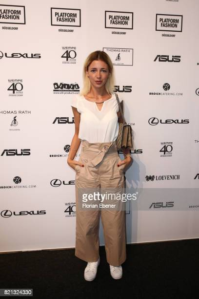 Jasmin Kessler attends the Thomas Rath show during Platform Fashion July 2017 at Areal Boehler on July 23 2017 in Duesseldorf Germany