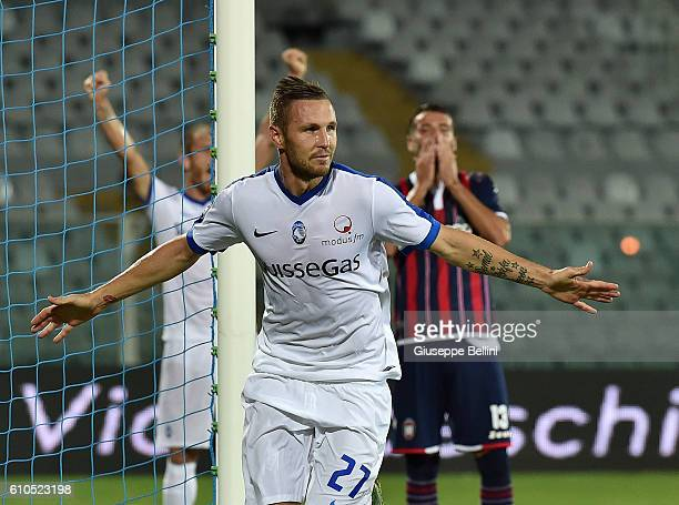 Jasmin Kurtic of Atalanta BC celebrates after scoring the goal 02 during the Serie A match between FC Crotone and Atalanta BC at Adriatico Stadium on...