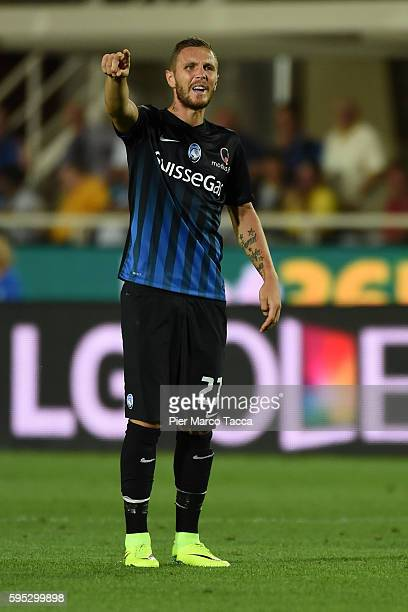 Jasmin Kurtic of Atalanta BC gestures during the Serie A match between Atalanta BC and SS Lazio at Stadio Atleti Azzurri d'Italia on August 21 2016...