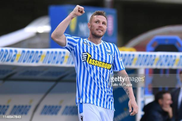 Jasmin Kurtic of SPAL celebrates after scoring his team's fourth goal during the Serie A match between Chievo Verona and SPAL at Stadio Marc'Antonio...
