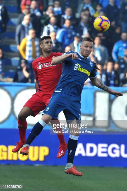 Jasmin Kurtic of SPAL wins a header during the Serie A match between SPAL and ACF Fiorentina at Stadio Paolo Mazza on February 17 2019 in Ferrara...