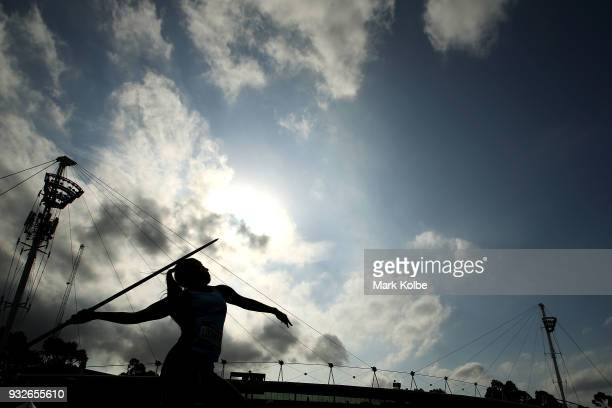 Jasmin Lockwood of New South Wales competes in the Women's under 18 Javelin Throw during day three of the Australian Junior Athletics Championships...