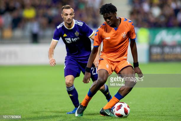 Jasmin Mesanovic of Maribor and Ovie Ejaria of FC Rangers fight for the ball during 2nd Leg football match between NK Maribor and Rangers FC in 3rd...