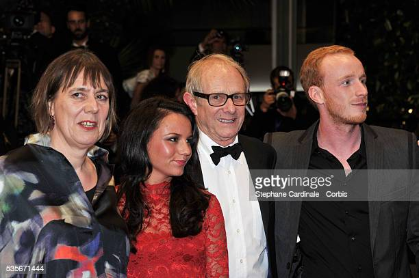 Jasmin Riggins Ken Loach and Paul Brannigan at the premiere for The Angel's share during the 65th Cannes International Film Festival